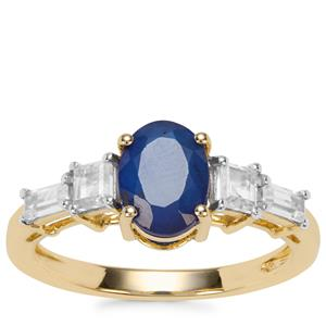 Santorinite™ Blue Spinel Ring with White Zircon in 9K Gold 2.11cts