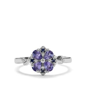 Tanzanite & Blue Sapphire Sterling Silver Ring ATGW 0.61cts