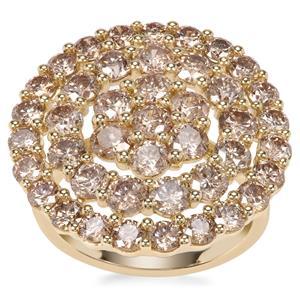 Champagne Diamond Ring in 9K Gold 4.95ct