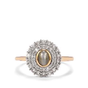 Cats Eye Alexandrite & White Zircon 10K Gold Ring ATGW 1.45cts