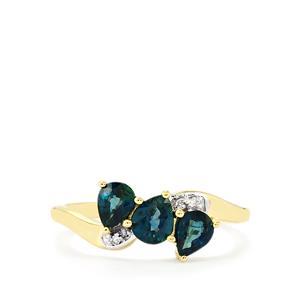 Nigerian Blue Sapphire & Diamond 9K Gold Ring ATGW 1.17cts