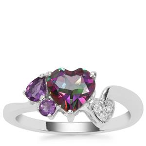 Mystic Topaz , Amethyst Ring with White Zircon in Sterling Silver 1.69cts