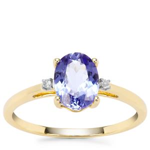 'The Midnight Blue' Tanzanite Ring with Diamond in 9K Gold 1.28cts