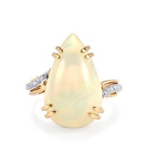Ethiopian Opal & Diamond 18K Gold Lorique Ring MTGW 10.96cts
