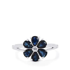 Australian Blue Sapphire & Diamond 9K White Gold Ring ATGW 1.62cts