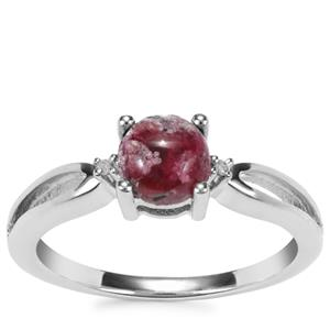 Bixbite Ring with Diamond in Sterling Silver 0.83ct