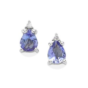 AA Tanzanite Earring with Diamond in Sterling Silver 0.58ct