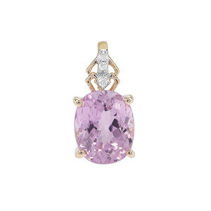 Natural Nuristan Kunzite Pendant with Diamond in 9K Gold 2.54cts