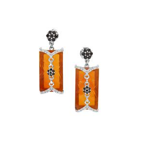American Fire Opal, Black Spinel Earrings with White Zircon in Sterling Silver 10.97cts