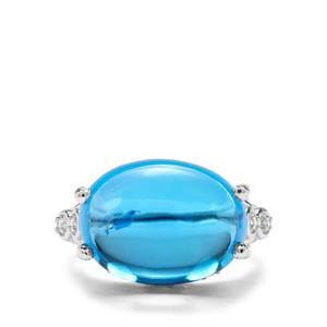 Swiss Blue Topaz & White Zircon Sterling Silver Ring ATGW 13.94cts