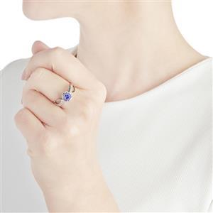 AA Tanzanite & White Zircon 10K White Gold Ring ATGW 0.99cts