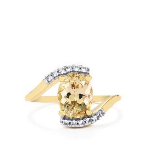 Champagne Danburite & White Zircon 9K Gold Ring ATGW 1.95cts