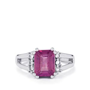 Ilakaka Hot Pink Sapphire & White Topaz Sterling Silver Ring ATGW 3.47cts (F)