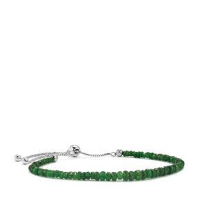 Tsavorite Garnet Graduated Bead Slider Bracelet in Sterling Silver 13.50cts