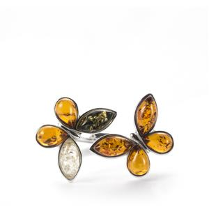 Baltic Cognac, Green Amber Ring with Baltic Champagne Amber in Sterling Silver
