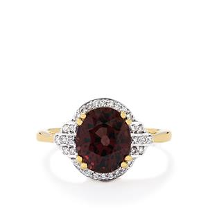 Color Change Garnet Ring with Diamond in 18k Gold 4.12cts