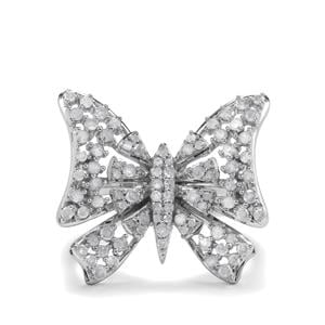 1ct Diamond Sterling Silver Butterfly Ring