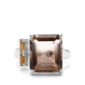 Bi-Colour Smokey Quartz & Diamantina Citrine Sterling Silver Ring ATGW 10.14cts