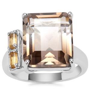 Bi-Colour Smokey Quartz Ring with Diamantina Citrine in Sterling Silver 10.14cts