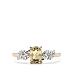 Csarite® & White Zircon 10K Gold Ring ATGW 1.12cts