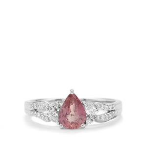 Padparadscha Sapphire Ring with Diamond in 18K White Gold 1.32cts