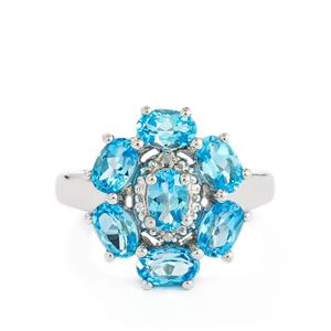 Swiss Blue Topaz & Diamond Sterling Silver Ring ATGW 3.68cts