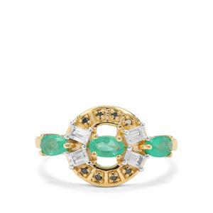 Colombian Emerald, Green Diamond & White Zircon 9K Gold Ring ATGW 1.20cts