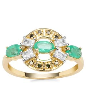 Colombian Emerald, Green Diamond Ring with White Zircon in 9K Gold 1.20cts