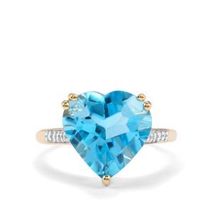 Swiss Blue Topaz & White Zircon 9K Gold Ring ATGW 7.16cts