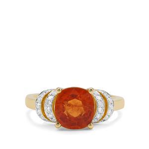 Mandarin Garnet Ring with Diamond in 18K Gold 3.69cts