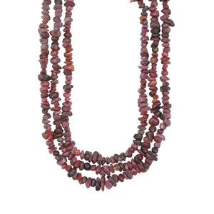 375ct Ruby Sterling Silver 3 Row Nugget Bead Necklace