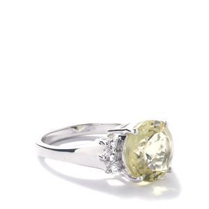 Citron Feldspar & White Topaz Sterling Silver Ring ATGW 4.82cts