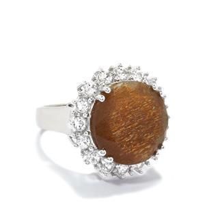 Shinyanga Sunstone & White Topaz Sterling Silver Ring ATGW 11.70cts