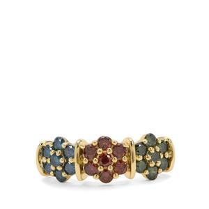 1ct Multi-colour Diamond 9K Gold Ring
