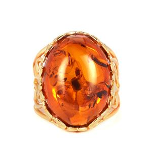 Baltic Cognac Amber Ring in Gold Tone Sterling Silver (20x15mm)