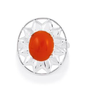 Carnelian Ring in Sterling Silver 5cts