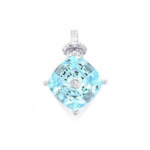 Lehrer TorusRing Sky Blue Topaz Pendant with Diamond in 10K White Gold 3.83cts