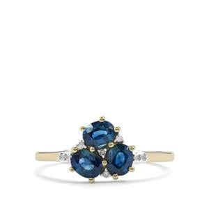 Australian Blue Sapphire Ring with Diamond in 10K Gold 0.97ct