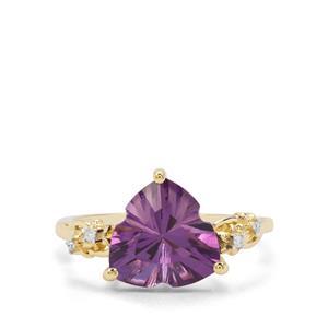 Lehrer Infinity Cut Ametista Amethyst & Diamond 9K Gold Ring ATGW 2.96cts