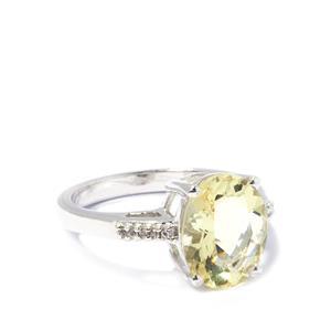 Citron Feldspar & White Topaz Sterling Silver Ring ATGW 2.95cts