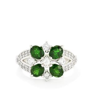 Chrome Diopside & White Topaz Sterling Silver Ring ATGW 2.32cts