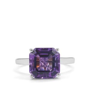 4.48ct Ametista Amethyst Sterling Silver Asscher Cut Ring