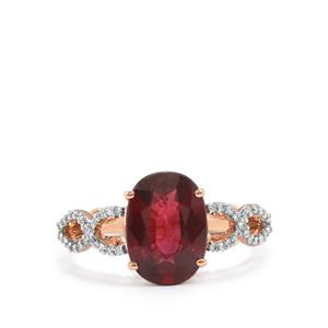 Malawi Garnet Ring with Diamond in 18K Rose Gold 3.56cts