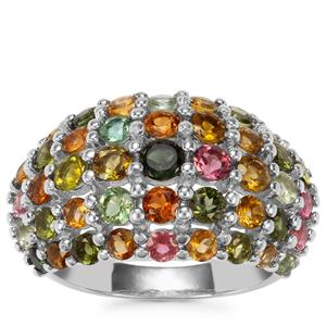 Rainbow Tourmaline Ring in Sterling Silver 3.63cts