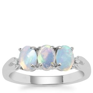 Ethiopian Opal Ring with White Zircon in Sterling Silver 0.94ct
