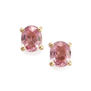 Sakaraha Pink Sapphire Earrings in 10K Gold 0.86ct