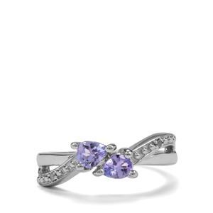 Tanzanite & Diamond Sterling Silver Ring ATGW 0.59cts