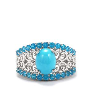 Sleeping Beauty Turquoise Ring with Neon Apatite in Platinum Plated Sterling Silver 2.61cts