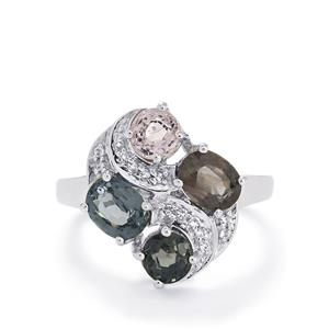 Burmese Multi-Color Spinel & White Topaz Sterling Silver Ring ATGW 3.61cts