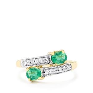Zambian Emerald & White Zircon 9K Gold Ring ATGW 0.96cts